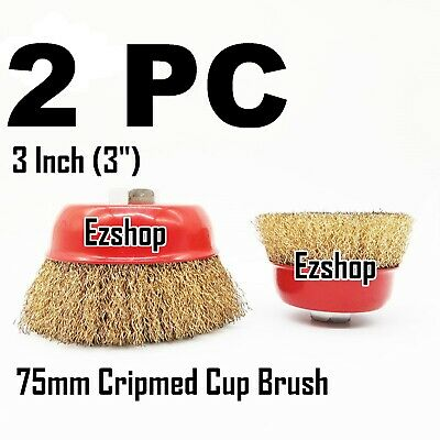 """(2pcs) 3"""" THREADED CRIMP CUP WIRE WHEEL BRUSH 5/8'' FOR ANGLE GRINDER"""