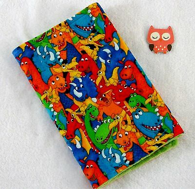 Handcrafted, Bold Dinosaurs Flannel Print & Green Minky Bubble Baby Burp Cloth