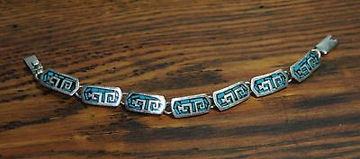 Vintage Sterling Silver and Turquoise Mosaic Bracelet Stamped 925 Mexico