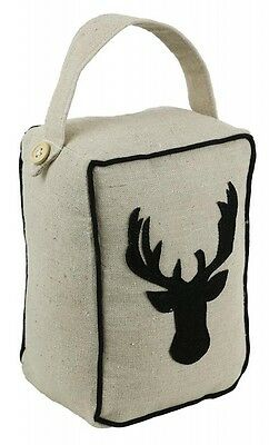 Luxury Moose Door Stop / Doorstop made out of Cotton finished in Beige &  Black