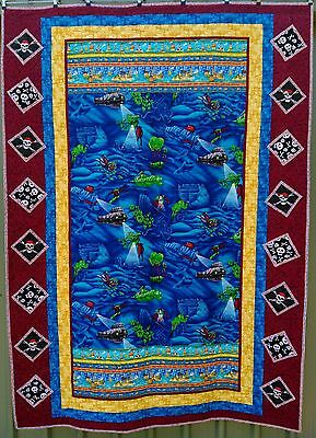 PRICE SLASHED, handmade quilt, pirates under the sea theme, single bed size
