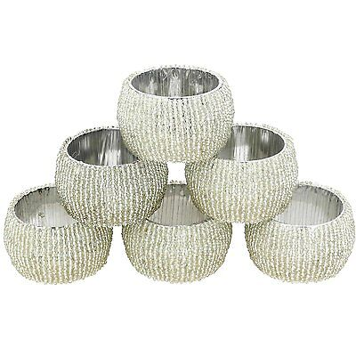 Beaded Napkin Rings Set of 6 Silver Decorations Christmas Ornaments