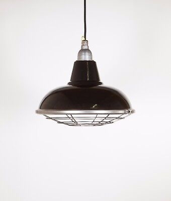 MORLEY WITH CAGE - Factory Enamel Ceiling Pendant Light - Vintage Industrial