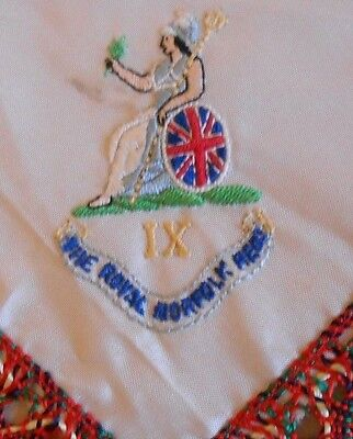post 1935  small   silk  military antimacassar   of the Royal Norfolk Regiment