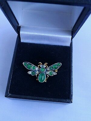 9 ct yellow gold Butterfly shapes, diamonds, Emerald, brooch