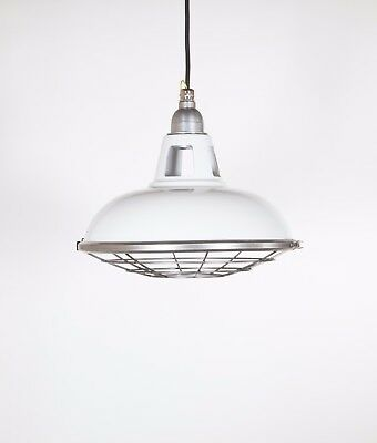 FARSLEY WITH CAGE - Factory Enamel Ceiling Pendant Light - Vintage Industrial