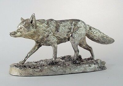 Large Sterling Silver Fox Sculpture Statue Made by Donaldson