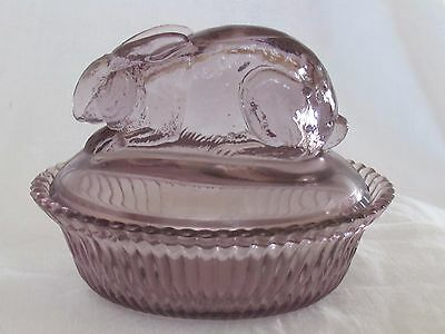Vintage Easter Bunny Rabbit on Nest Lavender Purple Glass Candy Container Estate