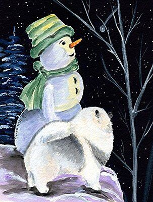 Snowman with Keeshond Flag Canvas Large Multicolor Outdoor Holiday Decoration