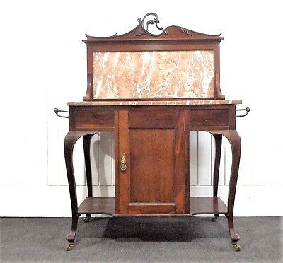 Antique Victorian ornate mahogany marble top washstand / dressing table