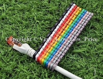 New Cable Markers 100 Colourful C-Type Marker Number Tag Label 4-6mm cat5 D13