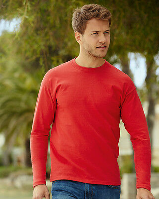 3 Pack Mens Fruit of the Loom Long Sleeve Cotton T Shirt 6 Colours cheep