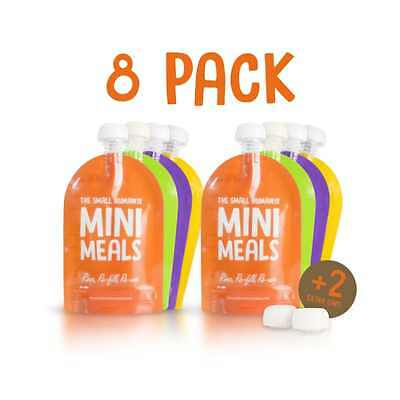 Reusable Food Pouch 8 Pack + FREE PAPERBACK RECIPE BOOK - BPA Free for Toddlers