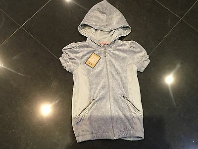 NWT Juicy Couture New & Genuine Girls Age 8 Grey Velour Hoody With Juicy Logo