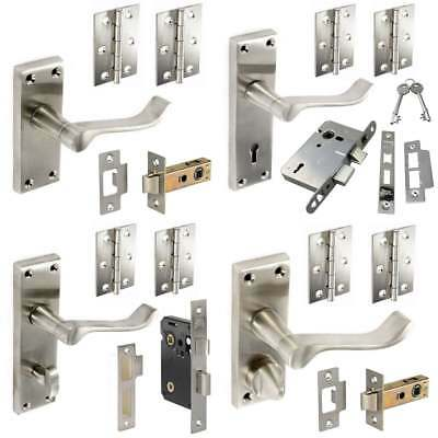 INTERNAL DOOR HANDLE PAIR Latch Lock Bathroom Privacy Hinges Set SATIN NICKEL