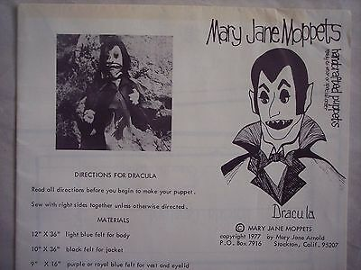 Vintage Mary Jane Moppets DRACULA Vampire Handcrafted Puppet Sewing Pattern 1977