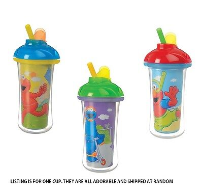 Munchkin Sesame Street Click Lock INSULATED STRAW CUP, Colors May Vary ~NEW~