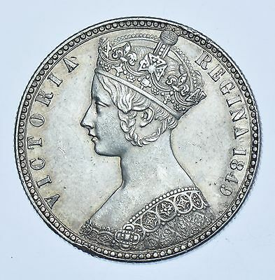 1849 `godless` Gothic Florin, British Silver Coin From Victoria Ef