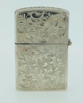 Vintage Sterling Silver Etched Lighter Never Used No Mono