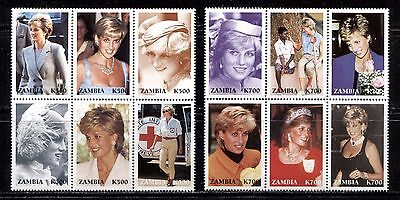 PRINCESS DIANA, RED CROSS ON ZAMBIA 1997, 12 STAMPS FROM Scott 706-707, MNH