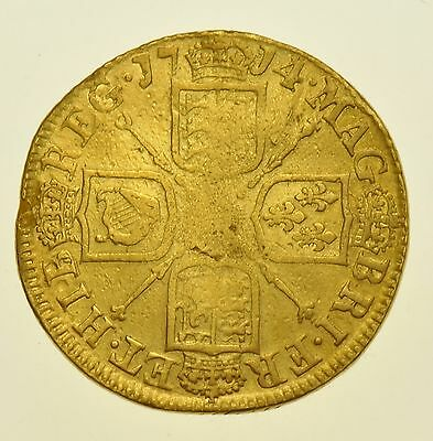 1714 Guinea, British Gold Coin From Anne Vf