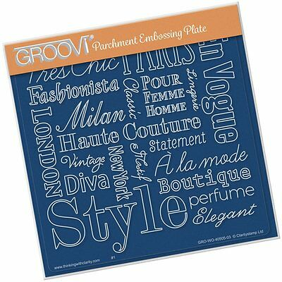 CLARITY STAMP GROOVI Parchment Embossing Plate ELEGANT EXPRESSIONS GRO-WO-40505