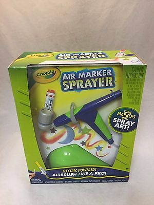 Crayola Air Marker Sprayer w/ Washable Markers, Stencil Sheets & Paper Sheets