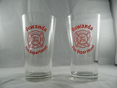 Matching Pair of Gowanda NY Fire Department Beer Glasses Drink Clear Pint Glass
