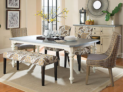 SERRANO-6pcs Country Cottage Rectangular Dining Room Table Chairs Set Furniture