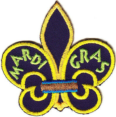 """""""MARDI GRAS"""" FLEUR DE LIS PATCH-HOLIDAY-NEW ORLEANS/Iron On Embroidered Applique"""