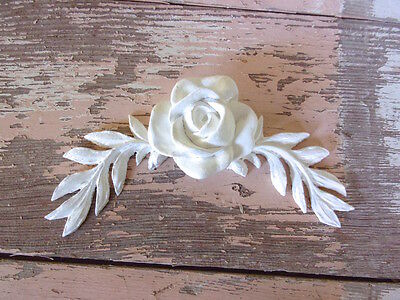 SHABBY n CHIC FURNITURE APPLIQUES * ARCHITECTURAL LEAVES w/ ROSE * STAINABLE