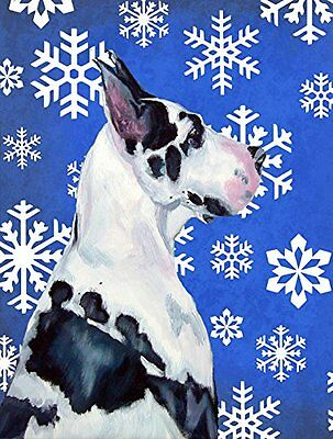 Great Dane Winter Snowflakes Holiday Flag Small Multicolor Outdoor Holiday Decor