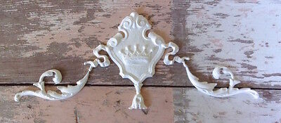SHABBY n CHIC FURNITURE APPLIQUES * ARCHITECTURAL CROWN CREST w/ SCROLLS