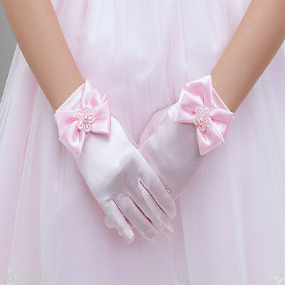 Girls Pink Satin Gloves Wedding Bridesmaid Flower Girl Communions Beauty Pageant