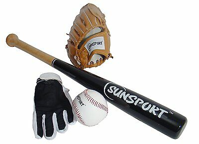 Bex Sports Baseball Gloves Bat & Ball Set w/Wooden bat