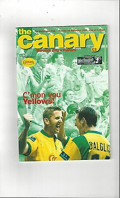 Norwich City v Fulham League Cup 1999/00 Football Programme