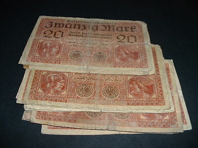 GERMANY WW1  BANKNOTE  20 MARKS USED 1918 ONLY 99p FOR 1