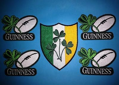 5 Lot Guinness Irish Beer Clover Rugby Ball Iron On Hat Jacket Patches Crests D
