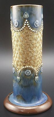 Royal Doulton Stoneware Spill Vase, Art Nouveau Decoration, Gilt Circles