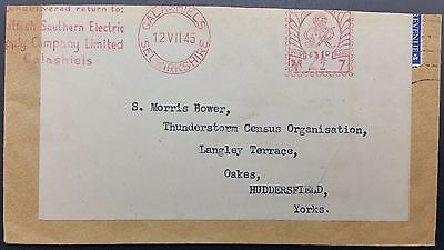 GB 1945 Re-used Cover, Economy Label & Southern Electric Co Meter to Oakes