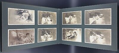 Green Edwardian Album Filled with Approx 96 Postcards  & Photos, All Pictured