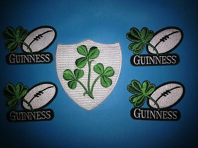 5 Lot Guinness Irish Beer Clover Rugby Ball Iron On Hat Jacket Patches Crests J