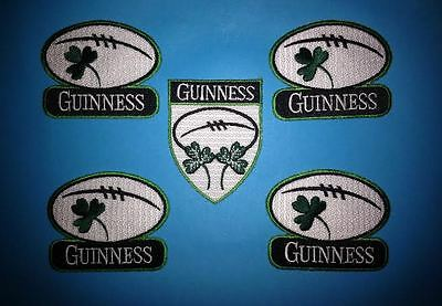 5 Lot Guinness Irish Beer Clover Rugby Ball Iron On Hat Jacket Patches Crests B