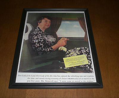 1940s FIRST LADY OF AIR ELEANOR ROOSEVELT FRAMED AD