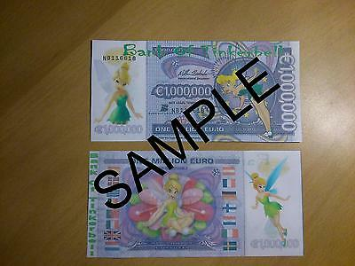 Disney Tinkerbell Novelty One Million Euro Bank Note Birthdays Gift Banknote