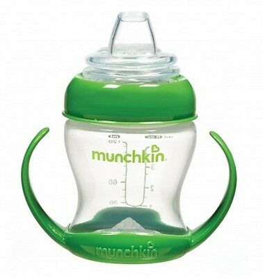 Munchkin 4oz FLEXI TRANSITION TRAINER CUP Soft Spout & Handles, Green ~NEW~