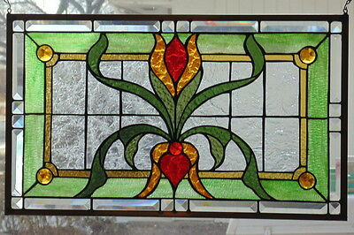 """Stained Glass window Transom Victorian  hanging 25 X 15""""  Polished Brass Frame"""