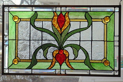 """Stained Glass window hanging 25 X 15""""  Polished Brass Frame"""