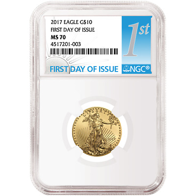 2017 $10 American Gold Eagle 1/4 oz NGC MS70 FDI First Day Label