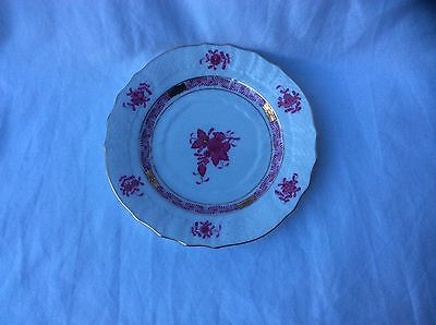 """HEREND Hungary 'Chinese Bouquet Raspberry' 6"""" China Dessert/Side Plate"""